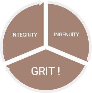 Pie chart with pieces labeled grit, integrity, and ingenuity